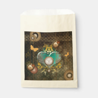 Steampunk, wonderful heart with clocks favour bags