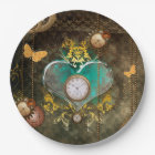 Steampunk, wonderful heart with clocks paper plate