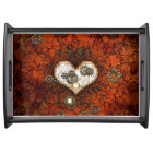 Steampunk, wonderful heart with clocks serving tray