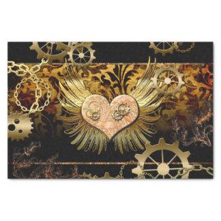 "Steampunk, wonderful heart with golden gears 10"" x 15"" tissue paper"