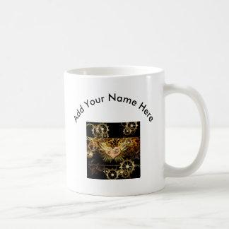 Steampunk, wonderful heart with golden gears basic white mug
