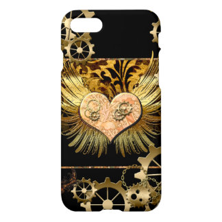 Steampunk, wonderful heart with golden gears iPhone 7 case