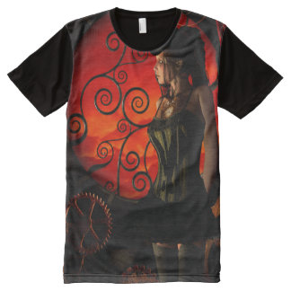 Steampunk, wonderful steampunk lady in the night All-Over print T-Shirt
