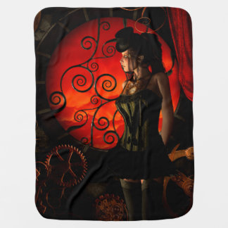 Steampunk, wonderful steampunk lady in the night baby blanket