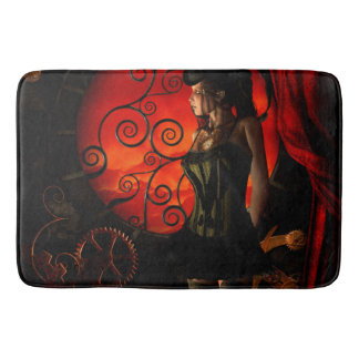 Steampunk, wonderful steampunk lady in the night bath mat