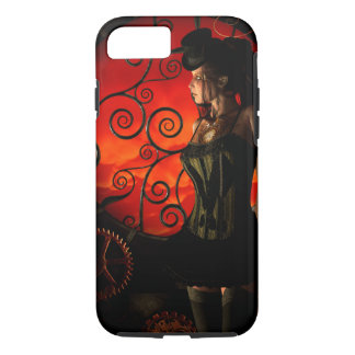 Steampunk, wonderful steampunk lady in the night iPhone 8/7 case