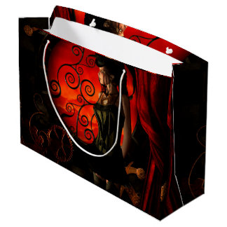 Steampunk, wonderful steampunk lady in the night large gift bag