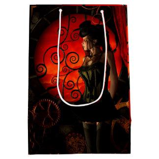 Steampunk, wonderful steampunk lady in the night medium gift bag