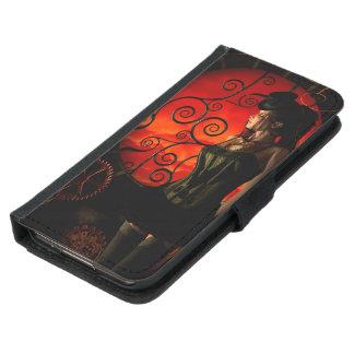 Steampunk, wonderful steampunk lady in the night samsung galaxy s5 wallet case