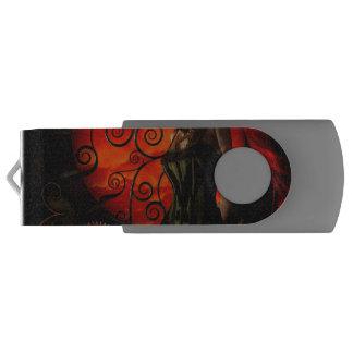 Steampunk, wonderful steampunk lady in the night USB flash drive