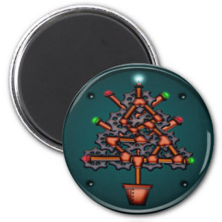 Steampunk Xmas, round magnet Magnets