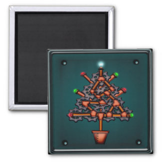 Steampunk Xmas, square magnet Fridge Magnet