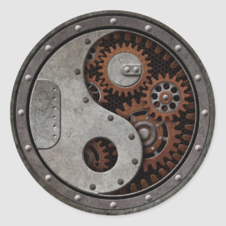 Steampunk Yin Yang Round Sticker