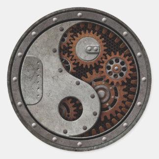 Steampunk Yin Yang Round Sticker
