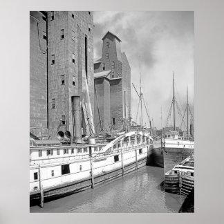 Steamships at Buffalo Poster