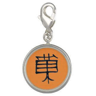 Steamy Japanese Kanji Treat tan round charm