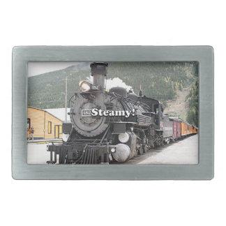 Steamy!: steam train engine, Colorado, USA 8 Belt Buckle