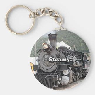 Steamy!: steam train engine, Colorado, USA 8 Key Ring