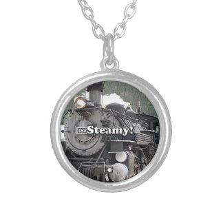 Steamy!: steam train engine, Colorado, USA 8 Silver Plated Necklace
