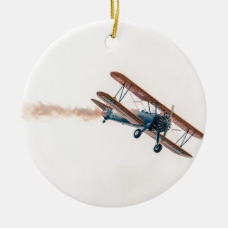 Stearman Pt-13d Double Decker Aircraft Fly Ceramic Ornament