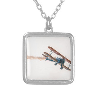 Stearman Pt-13d Double Decker Aircraft Fly Silver Plated Necklace