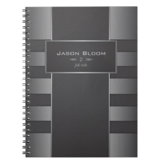 Steel and black stripes notebooks
