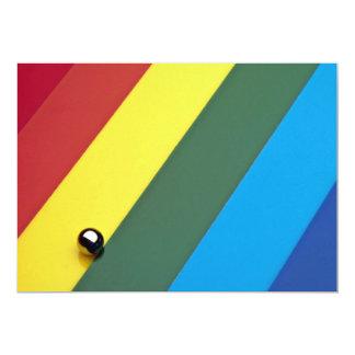 Steel ball on multicolored acrylic 13 cm x 18 cm invitation card
