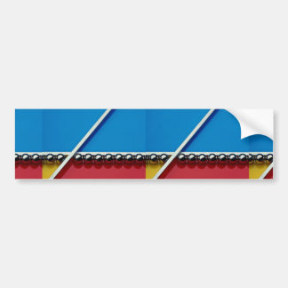 Steel balls and rods on multicolored acrylic bumper stickers