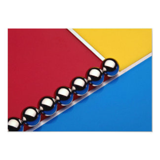 Steel balls and rods on multicolored acrylic 5x7 paper invitation card