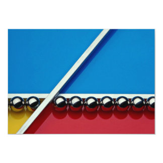 Steel balls and rods on multicolored acrylic 13 cm x 18 cm invitation card