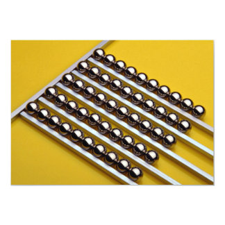 """Steel balls and rods on yellow acrylic 5"""" x 7"""" invitation card"""
