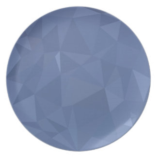 Steel Blue Abstract Low Polygon Background Party Plate