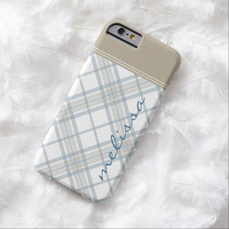 Steel Blue and Tan Plaid Monogram iPhone 6 Barely There iPhone 6 Case