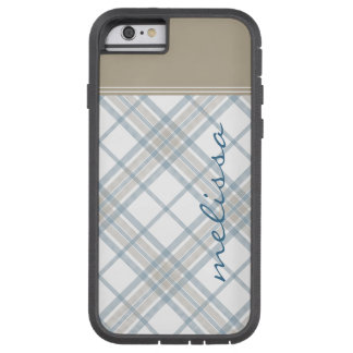 Steel Blue and Tan Plaid Monogram iPhone 6 Tough Xtreme iPhone 6 Case