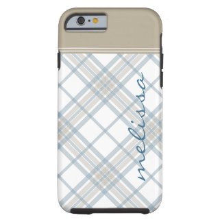 Steel Blue and Tan Plaid Monogram iPhone 6 Tough iPhone 6 Case