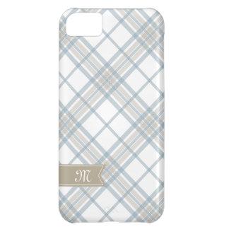 Steel Blue and Tan Plaid Monogram iPhone iPhone 5C Case