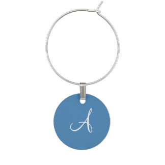 Steel Blue and White Monogram Wedding Favor