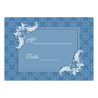 Steel Blue Damask and Floral Frame Place Setting Pack Of Chubby Business Cards