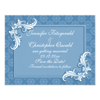 Steel Blue Damask and Floral Frame Save the Date 11 Cm X 14 Cm Invitation Card