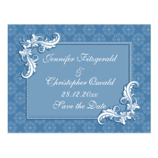 Steel Blue Damask and Floral Frame Save the Date Postcard