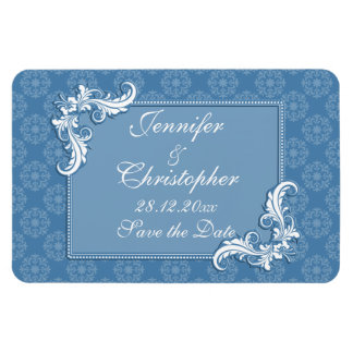 Steel Blue Damask and Floral Frame Save the Date Rectangular Magnet