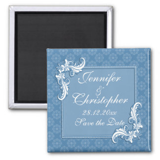 Steel Blue Damask and Floral Frame Save the Date Square Magnet