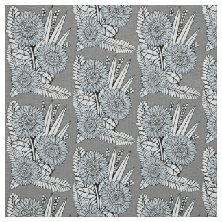 Steel-Blue Floral Spray Fabric