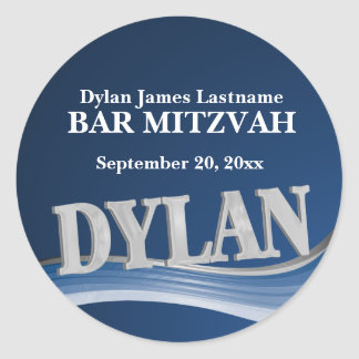 Steel Blue Name Dylan Classic Round Sticker
