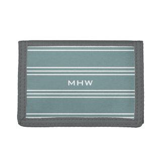 Steel Blue Stripes custom monogram wallets