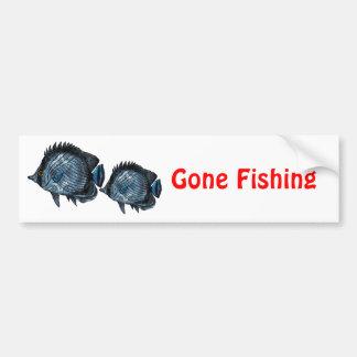 Steel Blue Tropical Butterfly Fish Bumper Sticker