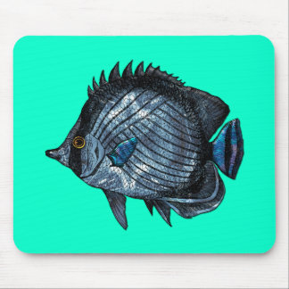 Steel Blue Tropical Butterfly Fish Mouse Pad