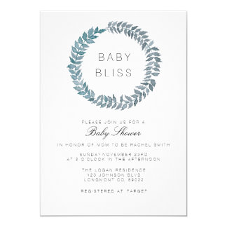 Steel Blue Vine | Watercolor Wreath Baby Shower Card