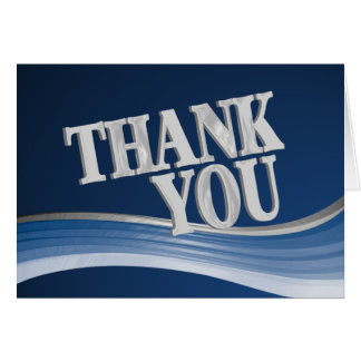 Steel Blue Wave Thank You Card