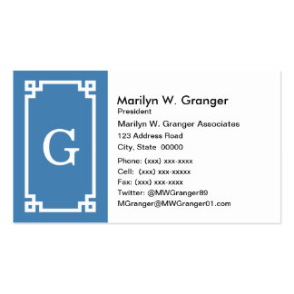 Steel Blue Wht Greek Key Frame #2 Initial Monogram Pack Of Standard Business Cards